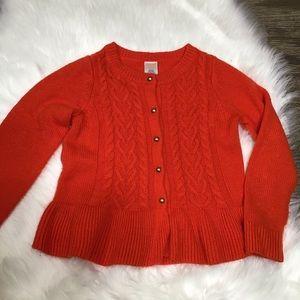Gymboree girls bright orange sweater with peplum.